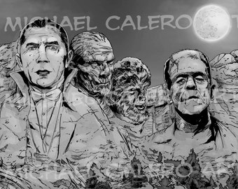 Universal Monsters Mount Rushmore ( Dracula , The Wolf Man , The Mummy , Frankenstein's Monster )