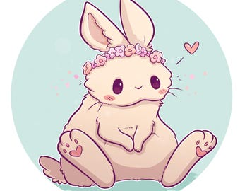Flower Crown Bunny! Sticker and/or Print
