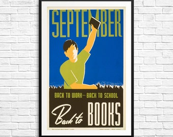 Back to Books, Library art, Back to School, Back to School posters, vintage school posters, classroom decor, library decor, reading room