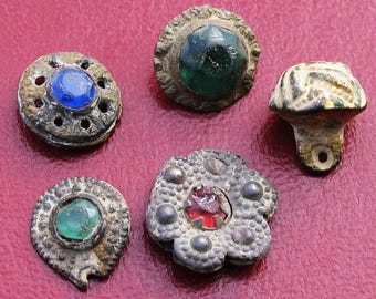 Spanish - Beautiful lot 5 medieval buttons of Knights Templar - XIII
