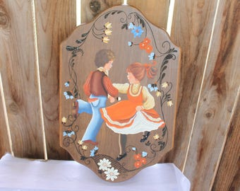 "Folk Art Painting Vintage 1980's Tole Art Wood Clock ""Dancing Couple"" Painting Artist Barbara Patterson Floral Art Upcycle Project Decor"