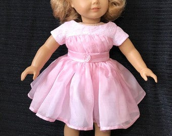 Lovely floating pink chiffon doll dress, reminiscent of 50's.