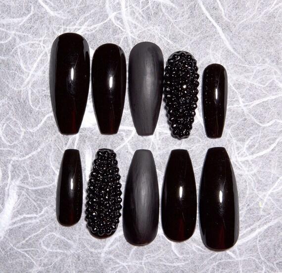 Black Fake Nails with Rhinestones Matte Black Fake Nails