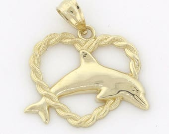 14K Yellow Gold Dolphin Heart Charm Pendant - 0.9 Grams