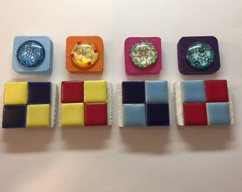 4 Glass Cabochon Magnets and 4 Small Ceramic Tile Magnets - Total of 8 in all