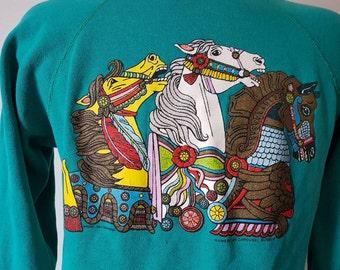 Vintage 80's American Carousel Museum Sweatshirt Size L