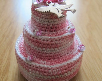 Mini jewelry box pink, sequins and beads lovebirds wedding cake box, handmade by fairy M1 Creations crochet
