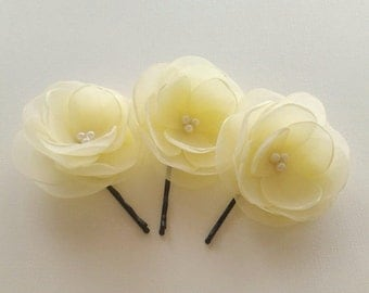Pale Yellow Hair Flowers Pale Yellow Boutonnieres Pale Yellow Bridal Hair Clips Light Yellow Hair Clips Pale Yellow Bridesmaids Flower Girl