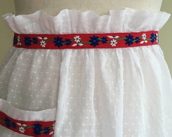 Vintage Red and White Swiss Dot Half Apron with Red Floral Trim