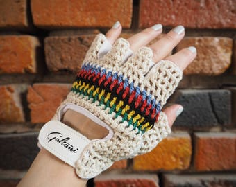 Women's 80s Gantoli Cream Leather Fingerless Cycling Driving Gloves With Rainbow Strip Knit Front Size Small