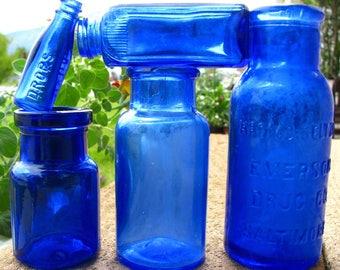 5 Antique Cobalt Blue Bottles, Medicine, Vicks Drops, Bromo-Seltzer, Old Vintage Bottle, Bottle Collection, Colored Bottles, mini miniature