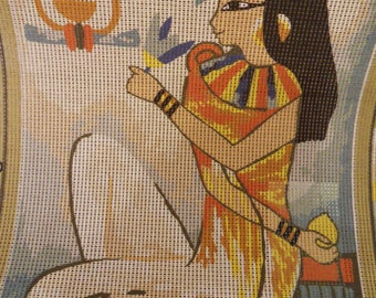 30 x 40 cms Antique Canvas showing a Traditional Egyptian Woman making an offering to the Gods