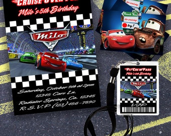 Digital Cars Invitation, Pit Pass and Matching Thank You Tags-Download Files Only