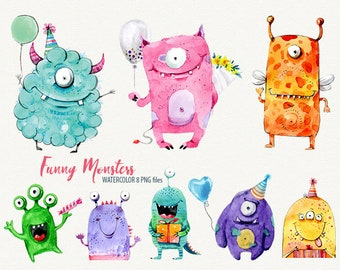 Watercolor monster, Sweet monsters, funny monster, cute monster