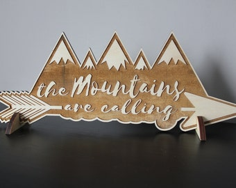 The Mountains Are Calling, Wood, Sign, Rustic, Rocky Mountain, Saying, Quote, Wall Decor, Home Decor, Laser, Cut Out, Engrave, Unfinished