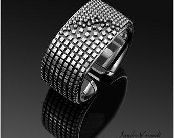Men Ring Band Silver Designer by SANDRO VERRDI /R017