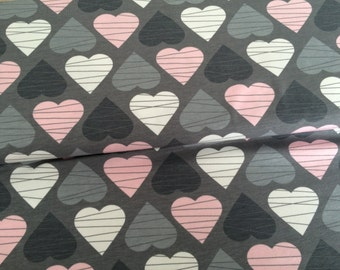 0,5M Jersey * broken hearts grey pink * by Petra Laitner