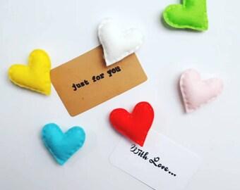 Heart magnets, fridge magnet, cute magnet, heart accessory, gift for her, heart fridge magnet, pack of 3