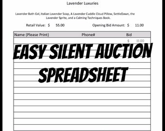 Easy to use Silent Auction Spreadsheet