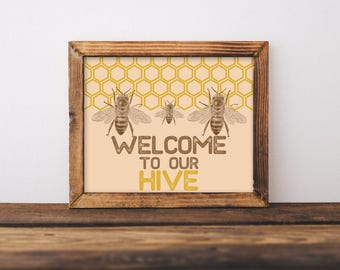 Bee Nursery Personalized Art Hive Gifts For Beekeepers Custom Decor