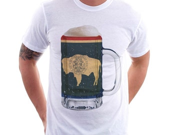 Wyoming State Flag Beer Mug Tee, Unisex, Home State Tee, State Pride, State Flag, Beer Tee, Beer T-Shirt, Beer Thinkers, Beer Lovers Tee