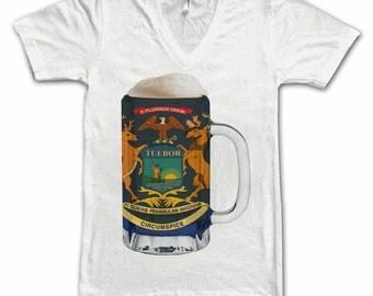 Ladies Michigan State Flag Beer Mug Tee, Home Tee, State Pride, State Flag, Beer Tee, Beer T-Shirt, Beer Thinkers, Beer Lovers Tee, Fun Tee