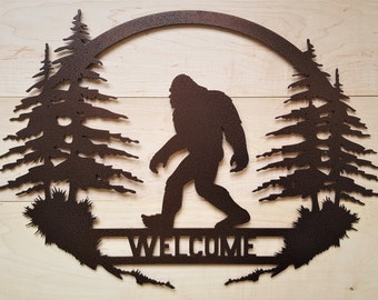 Bigfoot Big foot Sasquatch art Yeti Welcome sign metal cabin hunting forest dad gift father outdoor decor sign believe father's garden home