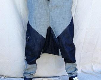 Patchwork harem jeans
