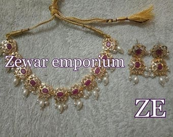 ZE-N05 Jadau Necklace set in rubies/ gift for her/ hyderabadi jewelry/ jadau jewelry/ pakistani jewelry