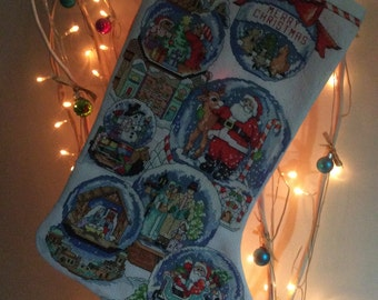 "Hand Stitched Christmas Stocking ""SnowDome Collection"""