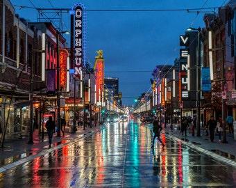 Digital photo download, Rainy night at Granville Street, Vancouver, Cityscape, Photography, Fine Art Photo, Wall Art, Night Evening Photos