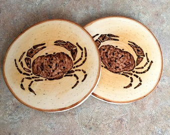 Crab Coaster, Woodburned Crab Coaster, Maine Crab Coaster, Made in Maine Coaster, Woodburned Crab, Birch Coaster, Wood Burned, Father's Day