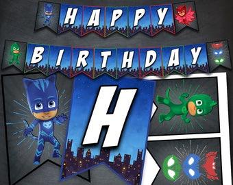 PJ Masks Banner, PJ Masks Birthday Banner, Pj Masks Party, Pj Masks Decorations, Pj Masks Printables, Favors, Banner Flags, Digital, DIY