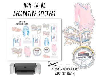pregnant printable stickers, mom, baby, maternity, crib, labels, planner stickers,decorative,print and cut,erin condren,silhouette stickers