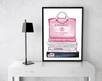 Chanel Bag Watercolour, Art Print, Black, gold, Coco Chanel, Handbag, Fashion Books, Watercolor, Fashion Illustration, couture, rue cambon