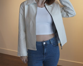 1980's Vintage White Leather Zip Up Jacket