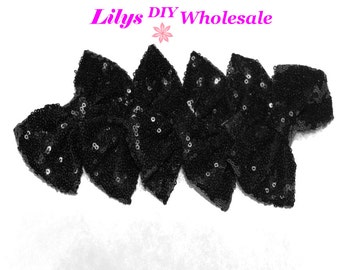"Black Large 4"" Sequin Bow - WIDE Center - Bulk 5 Bows in lot - Bow- Sequin Bow Headband-Large Bows Wholesale- Big Bow- Sequin Bows"