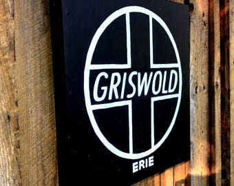 Griswold cast iron, Griswold frying pan, Griswold sign, kitchen decor, wall hanging, Erie PA sign, Kohler Beer, Presque Isle, Lake Erie