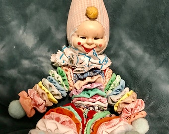 vintage yo-yo clown doll 25""