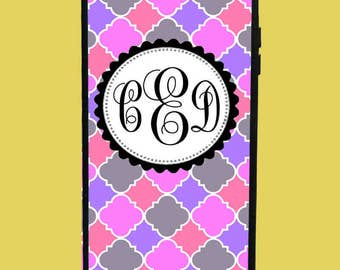 Pink,Grey&Purple Design Phone Case with 3 initials.  Customized Name. Monogrammed Case. Personalized.