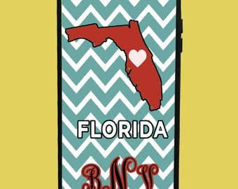Florida Phone Case with 3 initials.  Customized Name. Monogrammed Case. Personalized.