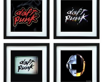 Daft Punk - Framed Album Art - Set of 4 Images