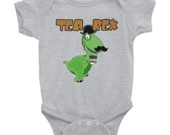 Tea Rex Onesie (Gray, Blue, White)