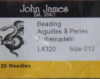 Size 012 Beading Needles, Pack of 25 by John James - TOOL-007