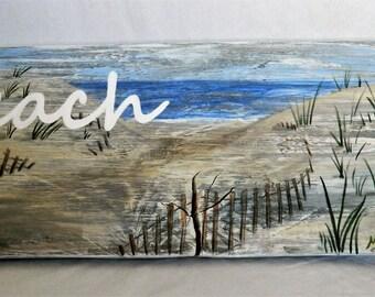 Wood Beach Sign, Painted Beach Sign, Beach Art, Coastal Art, Art and Collectibles, Home and Living, Beach Dunes, Wall Art