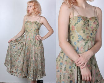 60s Hawaiian Dress // Vintage Sheer Embroidered Floral Spaghetti Strap Midi - Small