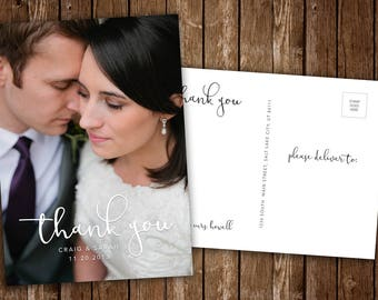 Wedding Thank You Postcard w/ Photo - DIY Printable PDF or JPEG Download