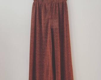 Sparkling copper trousers with elastic belt, handmade, CHIARA LUPPI designer