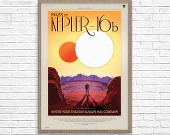 NASA Space Poster, Kepler-16b NASA ExoPlanet Travel Poster, Kepler-16b, Space Art, Nasa Art, Nasa Space Poster, Home Decor, Geek Decor