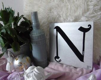 N - letter on wood, wooden letter, made hand, handmade, gift, present, gold or silver, gold or silver, black velvet, black velvet, rhinestones